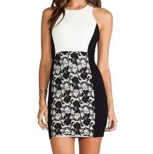 Bailey 44 black and cream lace mini dress small